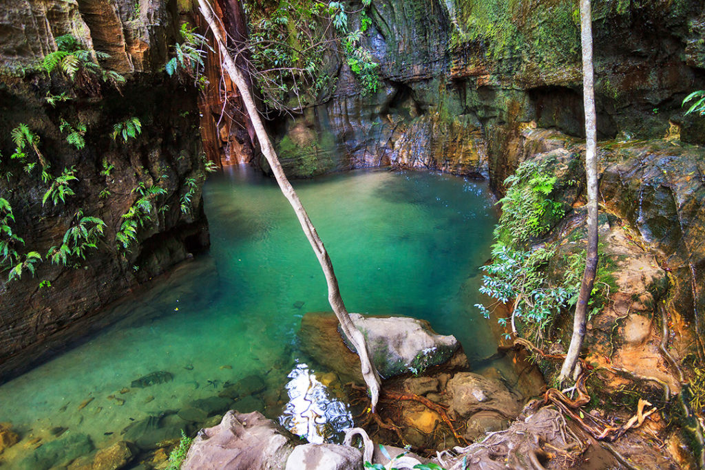 Parque Nacional de Isalo (Madagascar)cuenta con un paísaje rodeado de vegetación y piscinas naturales