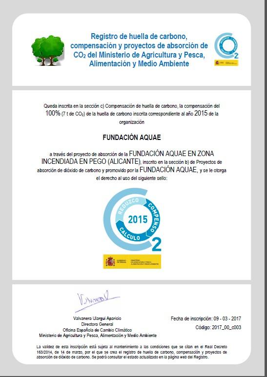 Sello compensación huella de carbono 2015, Fundación Aquae