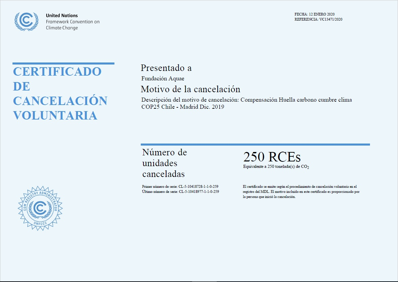 Certificado compensación CO2 COP25 Fundación Aquae