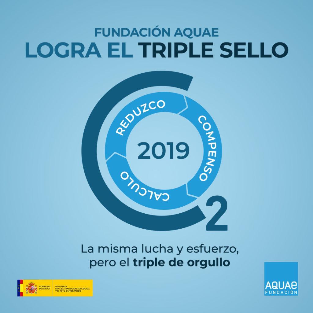 Fundación Aquae recibe el triple sello 'Calculo + Reduzco + Compenso', otorgado por la Oficina Española del Cambio Climático (OECC) del Ministerio de Transición y el Reto Demográfico